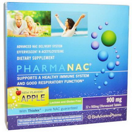 BioAdvantex Pharma, PharmaNAC, Advanced NAC Delivery System, Apple, 900mg, 32 Effervescent Tablets