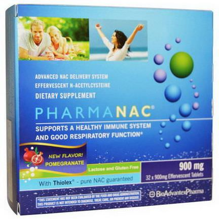 BioAdvantex Pharma, PharmaNAC, Advanced NAC Delivery System, Pomegranate, 900mg, 32 Effervescent Tablets