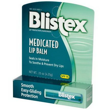 Blistex, Medicated Lip Balm, Lip Protectant/Sunscreen, SPF 15 4.25g