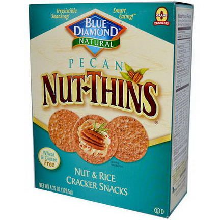 Blue Diamond, Pecan Nut-Thins, Nut&Rice Cracker Snacks 120.5g