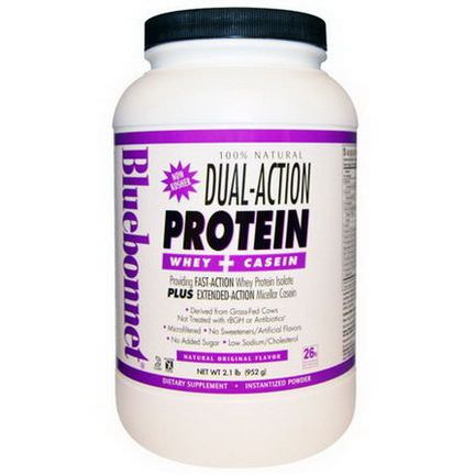Bluebonnet Nutrition, 100% Natural Dual-Action Protein Whey Casein, Natural Original Flavor 952g