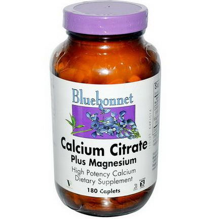Bluebonnet Nutrition, Calcium Citrate, Plus Magnesium, 180 Caplets