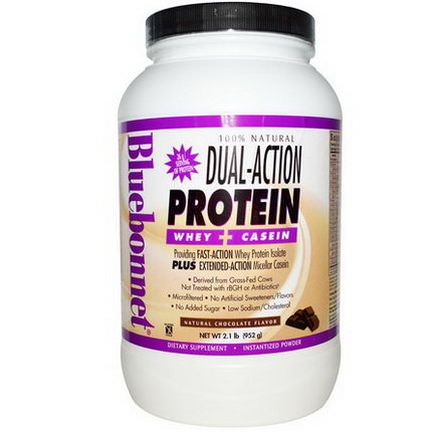 Bluebonnet Nutrition, Dual-Action Protein, Whey Casein, Natural Chocolate Flavor 952g
