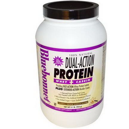Bluebonnet Nutrition, Dual-Action Protein, Whey Casein, Natural French Vanilla Flavor 952g