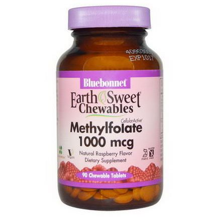 Bluebonnet Nutrition, EarthSweet Chewables, CellularActive Methylfolate, Natural Raspberry Flavor, 1000mcg, 90 Chewable Tablets