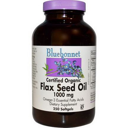 Bluebonnet Nutrition, Flax Seed Oil, Certified Organic, 1000mg, 250 Softgels