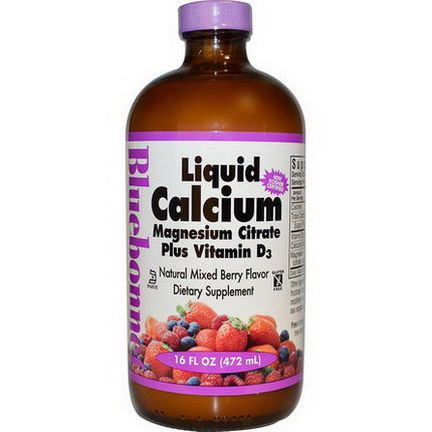 Bluebonnet Nutrition, Liquid Calcium Magnesium Citrate Plus Vitamin D3, Natural Mixed Berry Flavor 472ml