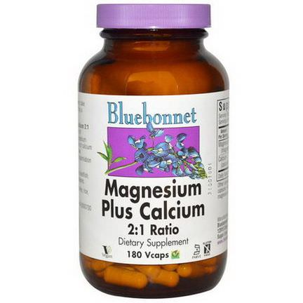 Bluebonnet Nutrition, Magnesium Plus Calcium, 2:1 Ratio, 180 Vcaps
