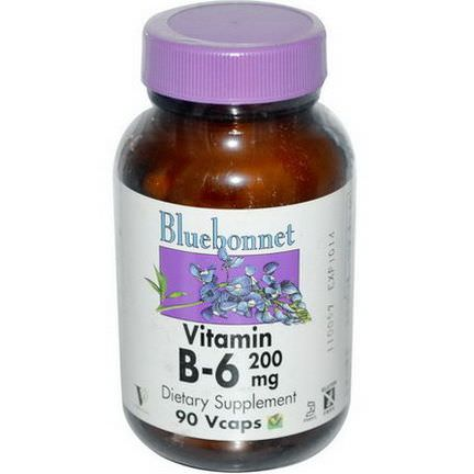Bluebonnet Nutrition, Vitamin B-6, 200mg, 90 Vcaps
