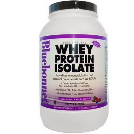 Bluebonnet Nutrition, Whey Protein Isolate, Natural Mixed Berry Flavor 924g
