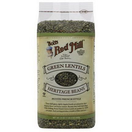Bob's Red Mill, Green Lentils Heritage Beans, Petite French Style 680g