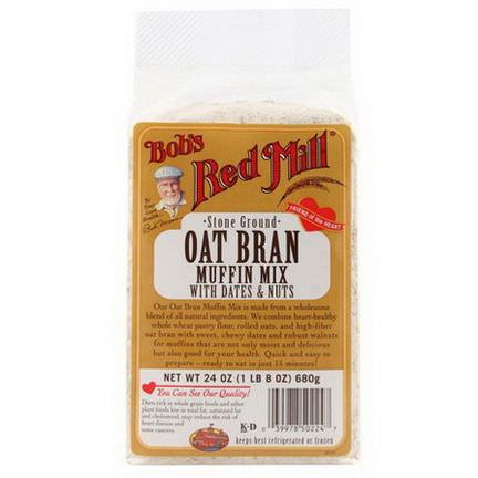Bob's Red Mill, Oat Bran Muffin Mix, with Dates and Nuts 680g