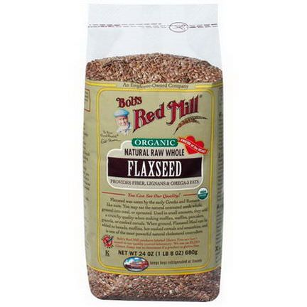Bob's Red Mill, Organic Natural Raw Whole Flaxseeds 680g