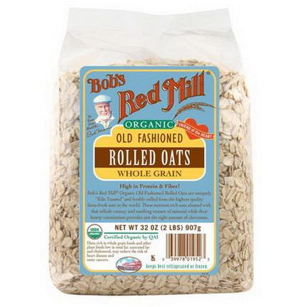 Bob's Red Mill, Organic Old Fashioned Rolled Oats, Whole Grain 2 lbs 907g