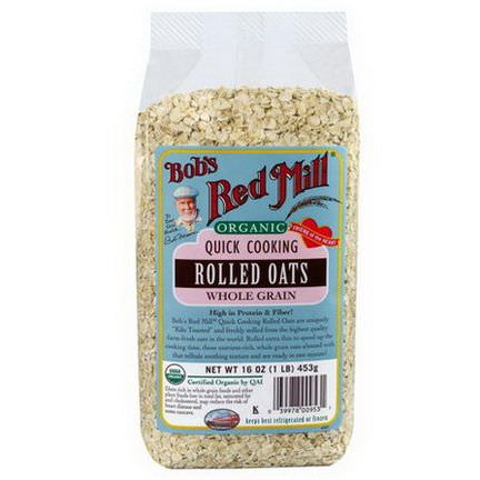 Bob's Red Mill, Organic, Quick Cooking Rolled Oats, Whole Grain 453g