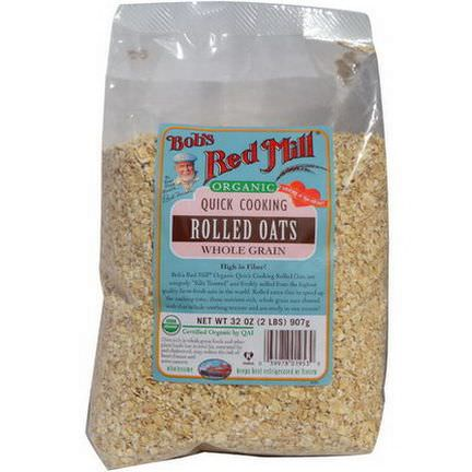 Bob's Red Mill, Organic Quick Cooking Rolled Oats, Whole Grain 2 lbs 907g