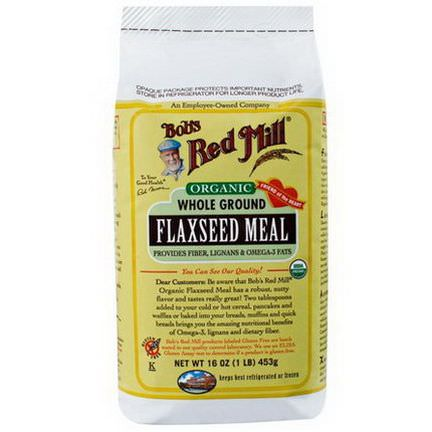 Bob's Red Mill, Organic Whole Ground Flaxseed Meal 1 lb 453g