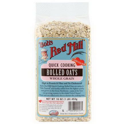 Bob's Red Mill, Quick Cooking Rolled Oats, Whole Grain 453g