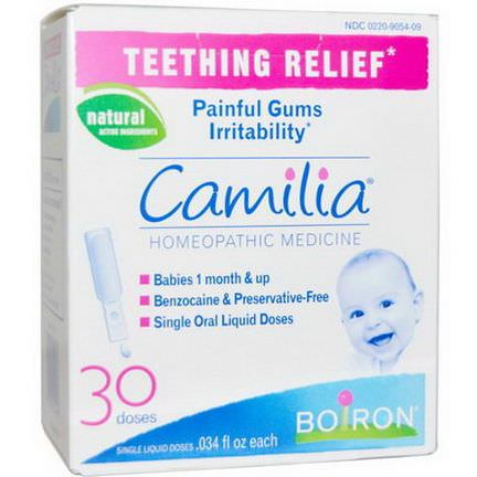 Boiron, Camilia, Teething Relief, 30 Liquid Doses.034 fl oz Each