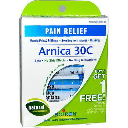 Boiron, Single Remedies, Arnica 30C, 3 Tubes, 80 Pellets Each