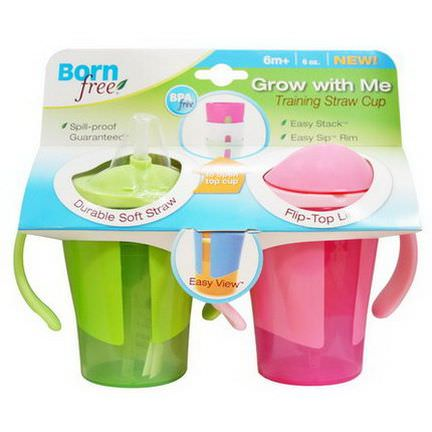 Born Free, Grow with Me, Training Straw Cup, Green and Pink, 2 Pack, 6 oz Each