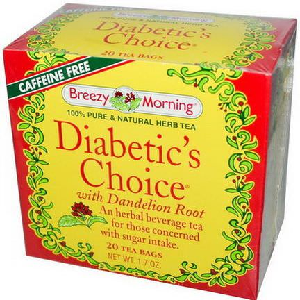 Breezy Morning Teas, Diabetic's Choice, with Dandelion Root, Caffeine Free, 20 Tea Bags, 1.7 oz