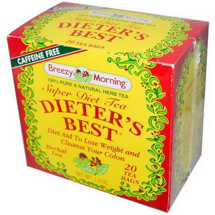 Breezy Morning Teas, Dieter's Best, Super Diet Tea, Herbal Tea, Caffeine Free, 20 Tea Bags, 1.3 oz