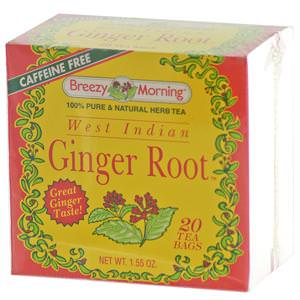 Breezy Morning Teas, West Indian Ginger Root, Caffeine Free, 20 Tea Bags, 1.55 oz