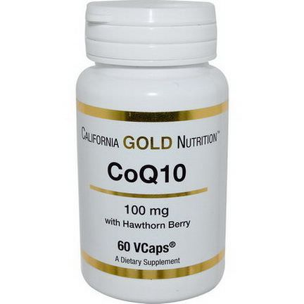California Gold Nutrition, CoQ10 with Hawthorn Berry, 100mg, 60 VCaps