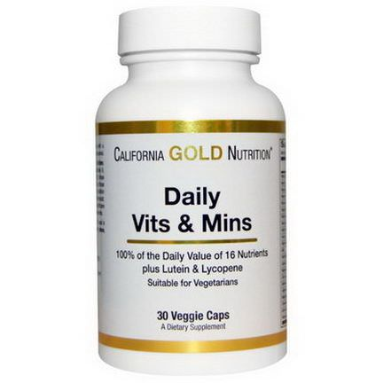 California Gold Nutrition, Daily Vits&Mins, 30 Veggie Caps