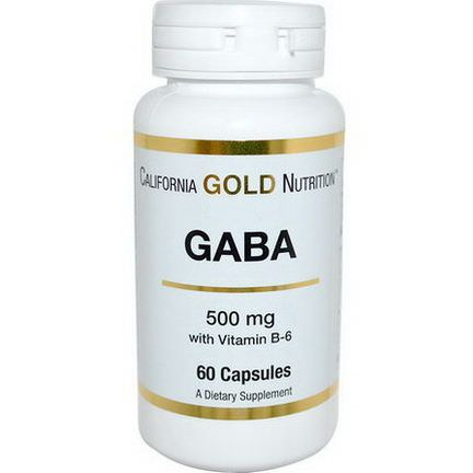 California Gold Nutrition, GABA, 500mg, 60 Capsules