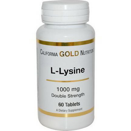 California Gold Nutrition, L-Lysine, 1000mg, 60 Tablets