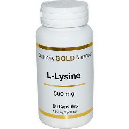 California Gold Nutrition, L-Lysine, 500mg, 60 Capsules