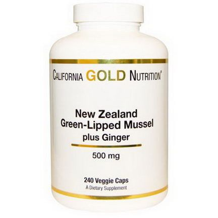 California Gold Nutrition, New Zealand, Green-Lipped Mussel Plus Ginger, 500mg, 240 Veggie Caps