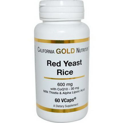 California Gold Nutrition, Red Yeast Rice, 600mg, 60 VCaps