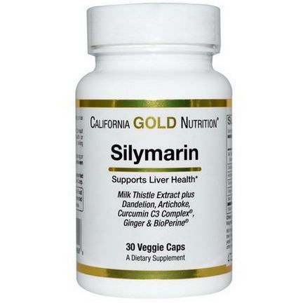 California Gold Nutrition, Silymarin Milk Thistle Extract, 30 Veggie Caps