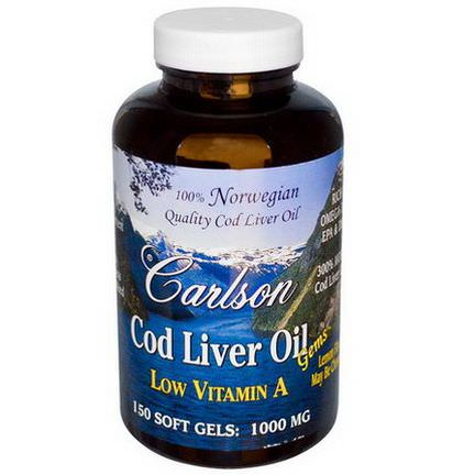 Carlson Labs, Cod Liver Oil Gems, Low Vitamin A, Lemon Flavor, 1000mg, 150 Soft Gels