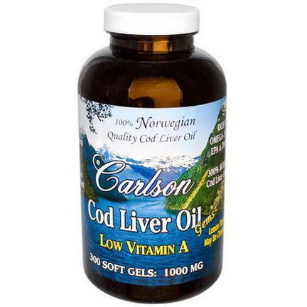Carlson Labs, Cod Liver Oil Gems, Low Vitamin A, Lemon Flavor, 1000mg, 300 Soft Gels
