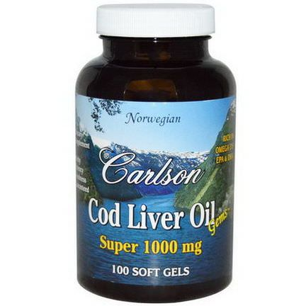 Carlson Labs, Cod Liver Oil Gems, Super 1000mg, 100 Soft Gels