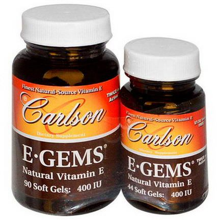 Carlson Labs, E Gems, 400 IU, 2 Bottles, 90 Softgels 44 Soft Gels