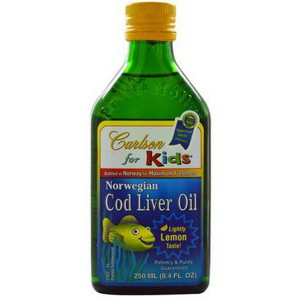 Carlson Labs, Norwegian Cod Liver Oil, For Kids, Lemon 250ml