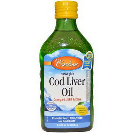 Carlson Labs, Norwegian Cod Liver Oil, Lemon 250ml