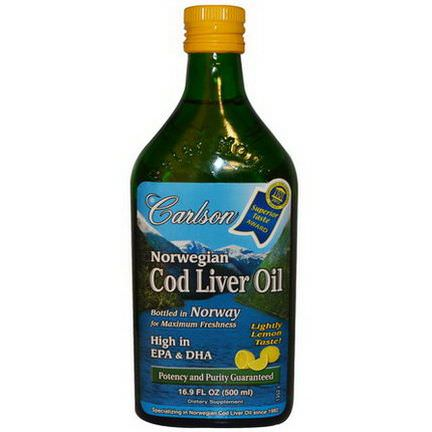 Carlson Labs, Norwegian Cod Liver Oil, Lemon Flavor 500ml