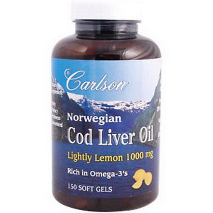 Carlson Labs, Norwegian Cod Liver Oil, Lightly Lemon, 1000mg, 150 Soft Gels