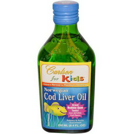 Carlson Labs, Norwegian Cod Liver Oil for Kids, Bubble Gum 250ml