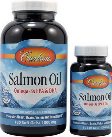 Carlson Labs, Salmon Oil, 1000mg, 180 50 Free Soft Gels