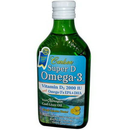 Carlson Labs, Super D Omega-3, Lemon Flavor 250ml
