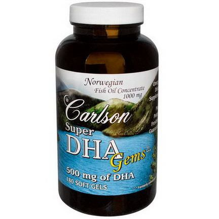 Carlson Labs, Super-DHA Gems, 500mg, 180 Soft Gels