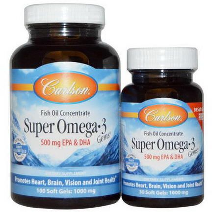 Carlson Labs, Super Omega-3 Gems, Fish Oil Concentrate, 1000mg, 100 Soft Gels Free 30 Soft Gels