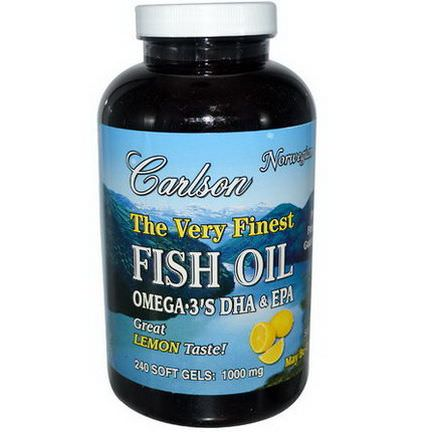 Carlson Labs, The Very Finest Fish Oil, 1000mg, Lemon, 240 Soft Gels